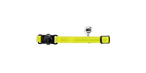 HUNTER REFLECTA Katzenhalsband, Nylon, reflektierend, Sicherheitsverschluss, Glöckchen, gelb