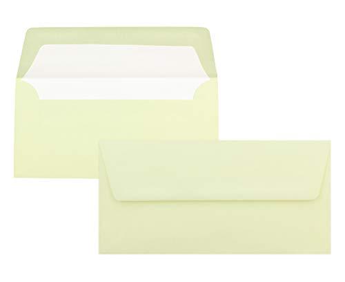50 enveloppen ivoor - DIN lang - met gehamerd oppervlak, gevoerd met zijdepapier - 80 g/m2-220 x 110 mm - natte lijmen - Merk: NEUSER Seta
