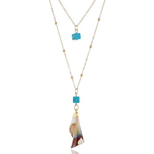 STPUS Cuellos de joyería 2020 Collier Femme Femme 2 Capas Collar Collar Collar Colgante Color Oro Color Declaración Larga (Length : Other, Metal Color : 51)