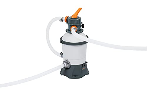 Bestway Flowclear 800 gal Pump w/GFCI Plug | 800 Gallon/Hour Flow Rate | Cleans Water for Above Ground Pools Sand Filter, White/Gray
