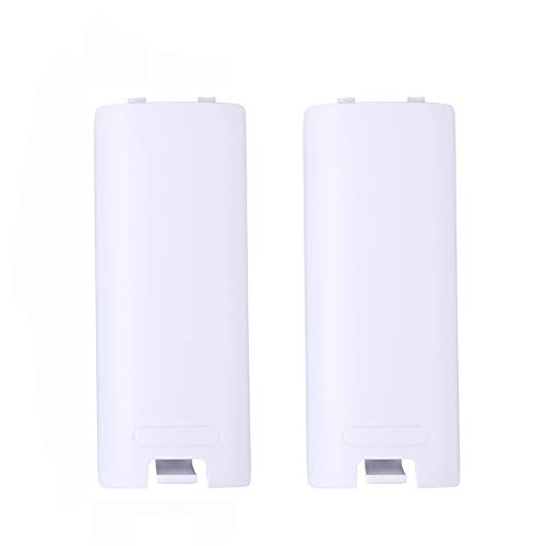 2pcs Battery Back Door Cover Shell Replacement for Nintendo Wii Remote Controller - White