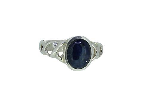 budawi® - Sternsaphir Ring 925er Silberring Größe 59, Saphirring