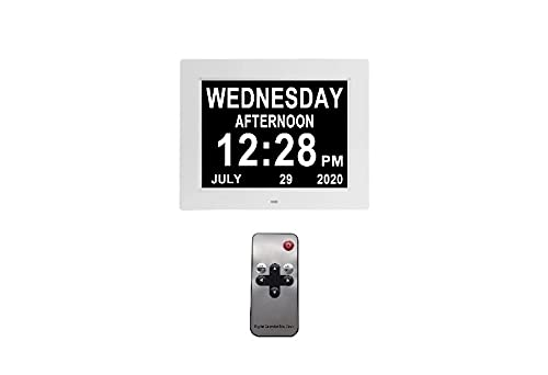Zebblux dementia clock HD digital display with date and day photo frame 7 inch white memory loss calendar clock clear living room healthcare bedroom calender Alzheimer's