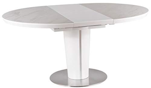 Casa Padrino Mesa de Comedor Blanco Mate/Gris/Plata 120-160 x 120 x A. 76 cm - Mesa de Comedor Moderna Extensible con Placas de ceramica en Aspecto marmol - Muebles de Cocina