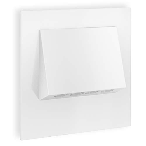 SSC-LUXon® LED Treppen-Einbauleuchte NARVA in weiß 230V 1W - quadratisches Design Spotlight zur Stufen & Treppenbeleuchtung