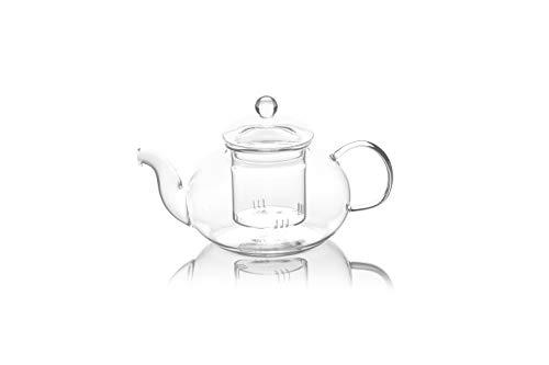 YEM Roundy 1000ml Teekanne mit Glas Sieb und Glas Deckel