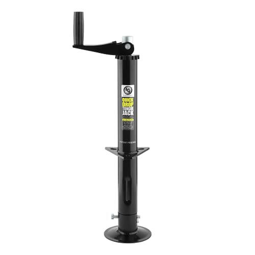 Lippert 733926 Quick Drop Tongue Jack for A-Frame Travel, Cargo, and Utility Trailers or 5th Wheel RVs, Black,2000lb