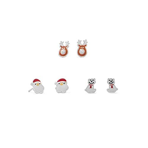 Juego de pendientes de plata de ley 925 con diseño de Papá Noel y oso polar, con perlas de imitación, para todas las joyas de regalo para mujeres
