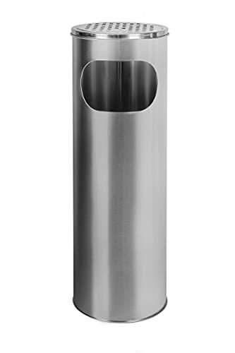 Metlex, Stehender Aschenbecher-Zigaretten-Behälter im Freien Edelstahl, Silber - MX9157 SL