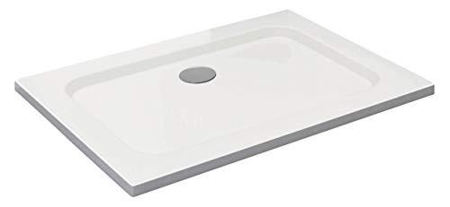 Vilstein douchebak, zeer vlak, douchebak met hellingen, sanitair acryl, met glasvezel versterkte kuip, DIN-aansluiting, vorm: vierkant, wit, sneeuwwit hoogglans 70 x 100 cm Weiß - Ohne Ablaufgarnitur