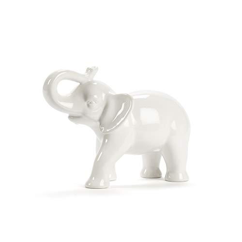 Abbott Collection Ceramic Elephant Figurine, White (Medium)