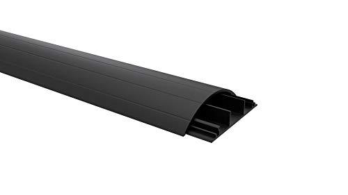 Habengut Fußboden-Kabelführung aus PVC Schwarz, halbrunde Kabelbrücke für bis zu 3 Kabel / Breite 7,5 cm, Länge 1,5 m