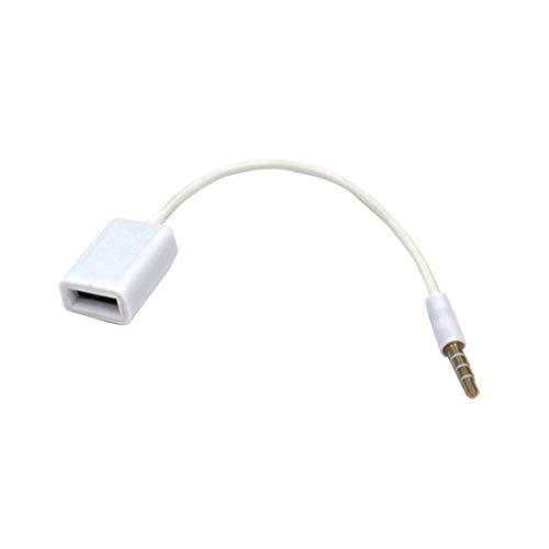 HehiFRlark - Toma de audio auxiliar macho AUX a USB de 3,5 mm a convertidor hembra USB 2.0