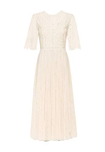 HALLHUBER Mesh-Kleid mit Spitze ausgestellter Schnitt Creme, 34