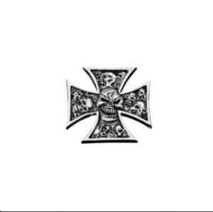 Emblema adhesivo metal cromado cruz de Malta Skull