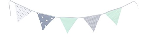 Guirnalda de banderines de ULLENBOOM ® con menta gris (guirnalda de tela: 1,90 m; 5 banderines; decoración para la habitación de los niños; fiestas de bienvenida para bebés)