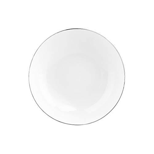 BUTLERS Silver Lining Tiefer Teller Ø 20 cm - Weißer Porzellanteller, Pastateller und Suppenteller - Qualitäts-Geschirr