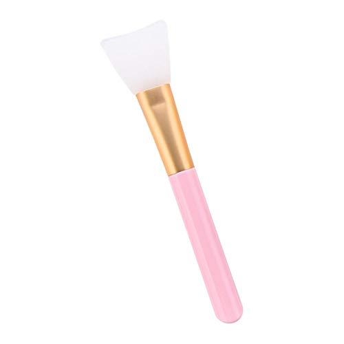 Brosses de Visage Tête Silicone et Poignée en Bois Pour Appliquer Masque Facial, Pinceau de Mélange Applicateur pour Masque de Boue - Rose