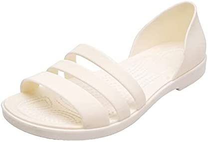 ZAIXO Women Summer Flat Sandals 2021 Open-Toed Slides Slippers Candy Color Casual Beach Outdoot Female Ladies Jelly Shoes Women Sandals (Color : White, Shoe Size : 36)