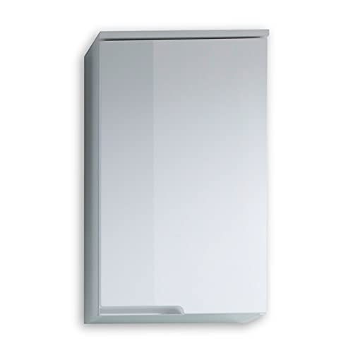 SPICE Pensile da bagno in bianco lucido - armadio da bagno con molto spazio di stoccaggio - 40 x 67 x 23 cm