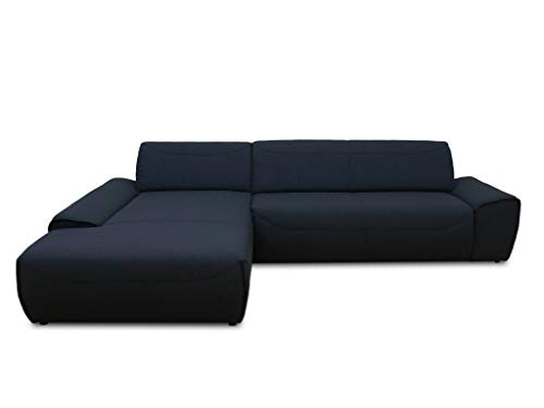 DOMO collection Frenzy Ecksofa, moderne L-Form Eckcouch, Couch in Webstoff, anthrazit, 306x195x77 cm
