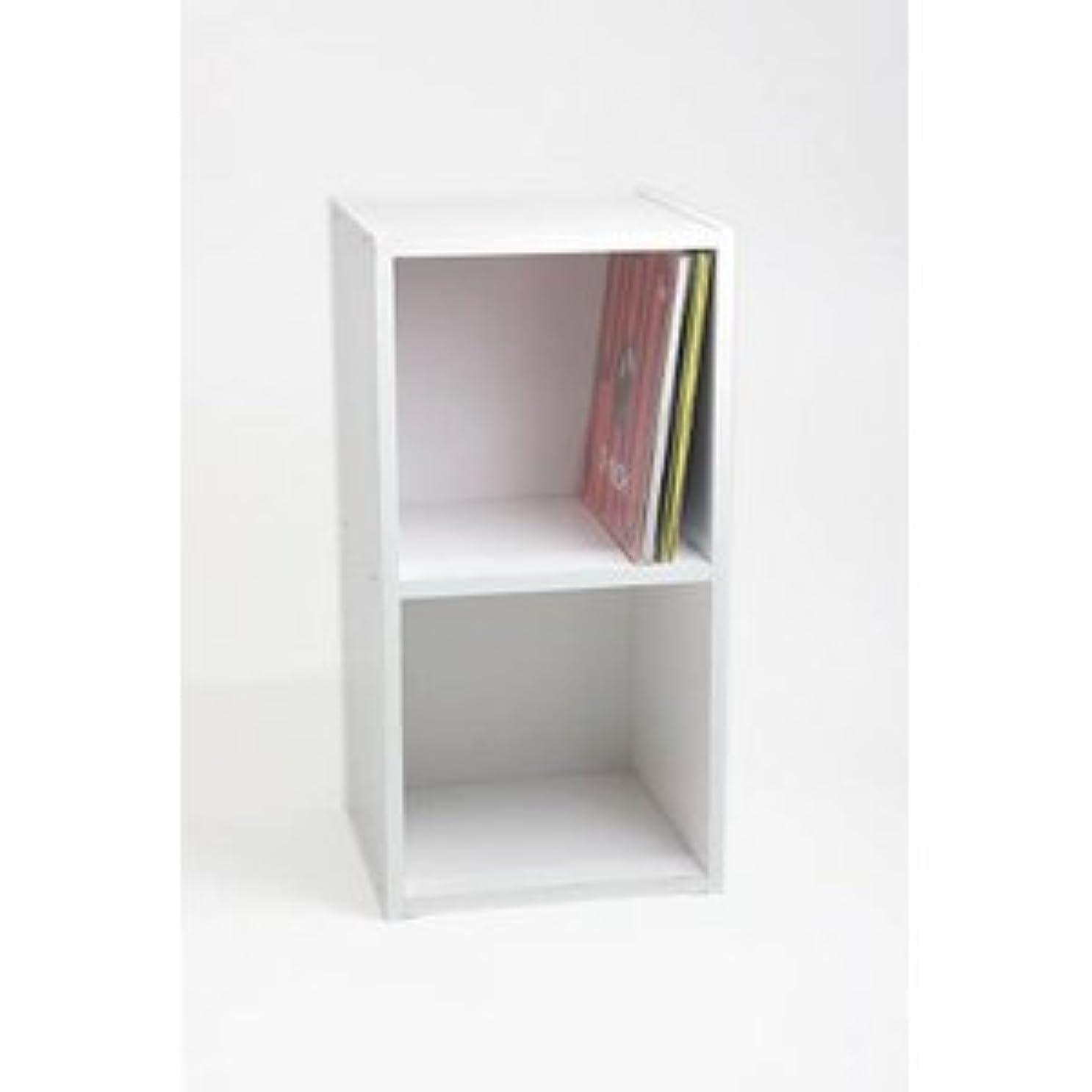 マイナー初期ホストレコードラック(LP収納用ラック)/バイナルボックス 木製 2段 LP-12 ホワイト(白) [簡易パッケージ品]
