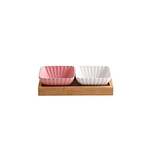 Salsa de Soja Plato 2 Compartimento cerámico Bowls Bowls con Bandeja Bocadillo Postre Fruta Ensalada Cuencos o Placas de Aperitivo sirviendo Platos (Color : Pink+White)