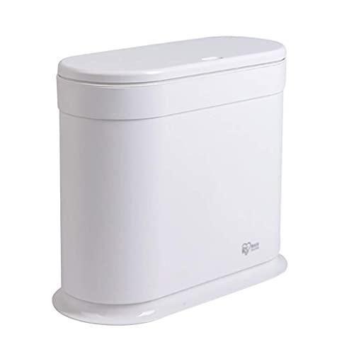 LYLSXY Cubo de Basura, Cubo de Baño Rectangular Compacto de 12L, Plástico Blanco, Cubo de Basura Doméstico para Baño, Cocina Y Oficina, 30Cm X 15.5Cm X33Cm,Blanco