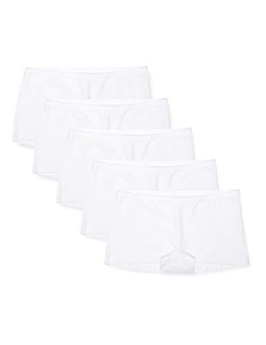 Amazon-Marke: Iris & Lilly Damen Shorts aus Baumwolle, 5er-Pack, Weiß (Weiß), XL, Label: XL