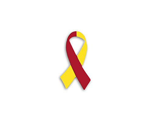 Fundraising For A Cause | Small Red & Yellow Ribbon Awareness Decal - Decals for Coronavirus Disease (COVID-19) and Hepatitis C Awareness (1 Decal - Retail)