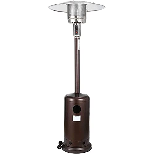 Gorilla Gadgets Patio Heater - Propane Outdoor Heater 48000BTU, Outdoor Patio Heater with Overheat Protection, with Wheels for Restaurants, Garden and Commercial Use (Brown)