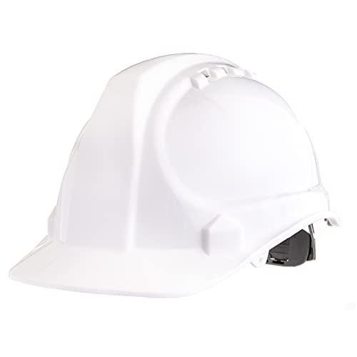 """AMSTON Safety Hard Hat, Head Protection, """"Keep Cool"""" Vented Helmet, Fully Adjustable, Low Profile, Cap Style, Type 1 Class C, Construction, ANSI Z89.1, White"""