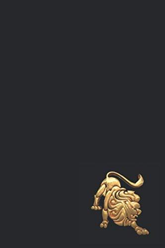 Notizbuch: Notizheft mit 120 linierten Seiten, linien, lined paper, Format 6x9, ca. DIN A5, Sternzeichenzeichen Löwe, Lion, Leo.