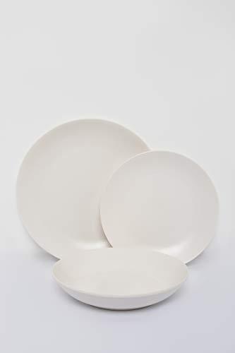 SELB Tafelservice Servier Set aus Steinzeug, 18-teiliges hochwertiges Teller-Set für 6 Personen (Weißmatt)