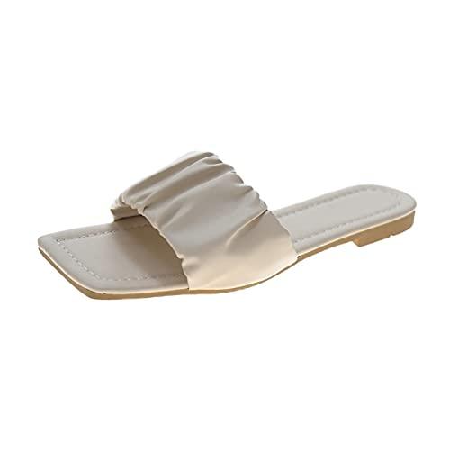 Luckycat Sandalias Mujer Verano 2021 Pantuflas de Punta Cuadrada Y Fondo Plano Palabra Simple de Color Sólido con Pantuflas Sin Cordones Pantuflas para Exteriores Que Combinan con La Moda Informal