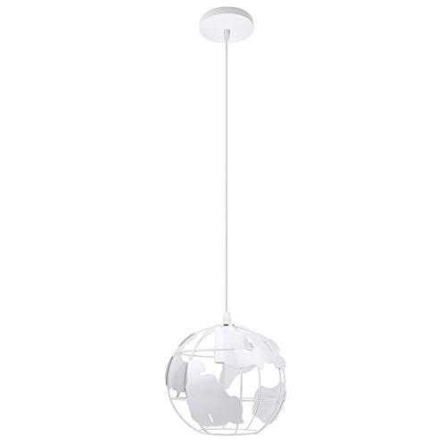 Lámpara Colgante de Globo Terráqueo Metal Hierro Esfera Creativo Industrial Luz de Techo Decoración para Restaurante Loft Entrada Escalera Casa (Blanco)