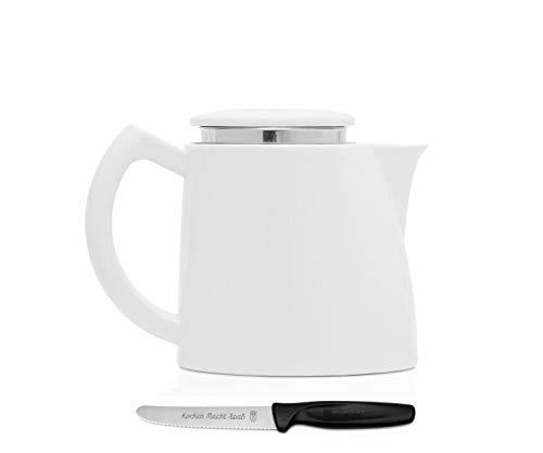 Sowden Oskar Kaffeekanne 0,8 l Porzellan weiß, plus ultrascharfes, langlebiges Kochen Macht Spaß Vespermesser im Set