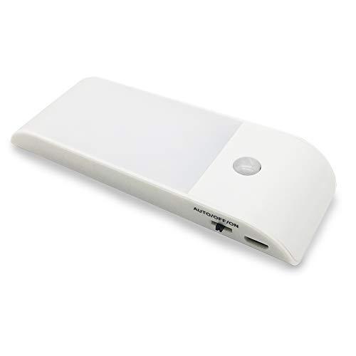 Luz con sensor de movimiento, luz nocturna para armario con batería recargable USB, instalada por tira magnética extraíble, adecuada para clóset, escaleras de cocina, blanco cálido