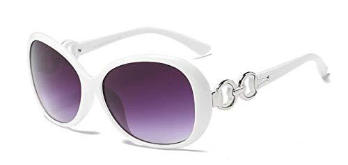 Gafas De Sol Vintage para Mujer Gafas De Sol De Diseñador De Marca para Mujer Gafas Redondas Gafas De Sol con Montura Grande Blanco