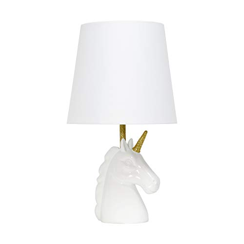 Simple Designs LT1078-WHT Sparkling Matte Unicorn Table Lamp, White