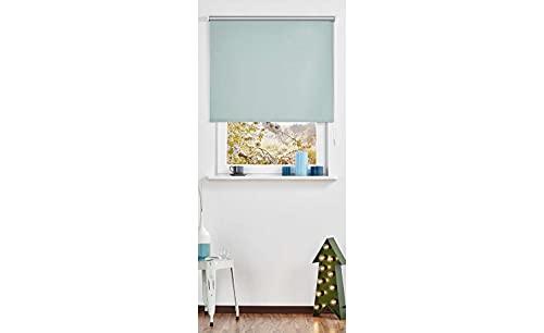KHG Seitenzug-Rollo Türkis/Petrol Polyester Modern Pop Wandträger,mit Kindersicherung,thermobeschichtet, Breite :112 cm