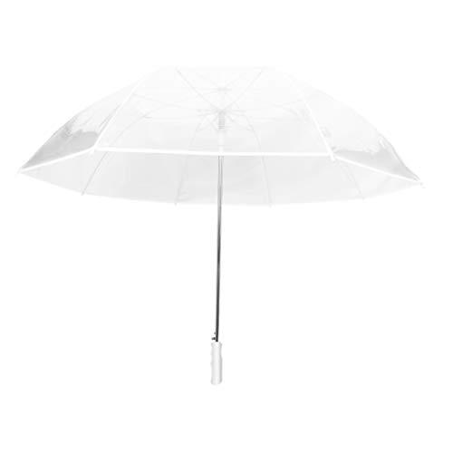 SMATI Damen VollAutomatik Golfschirm Transparent Großer Regenschirme für 2 XXL durchsichtig (Weiß)