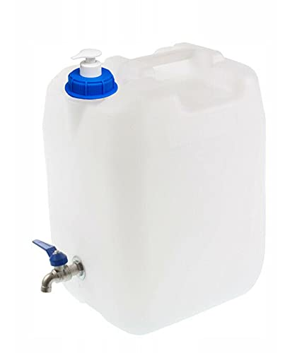 TRADIS Wasserbehälter 20 l + Seifenspender 150 ml Hahn Trinkwasserkanister Kanister Wasserkanister