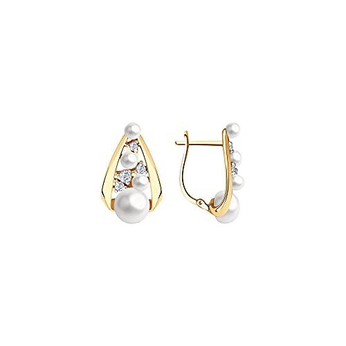 BEM Joyas: pendientes de oro rojo 585 con perla y circonita.