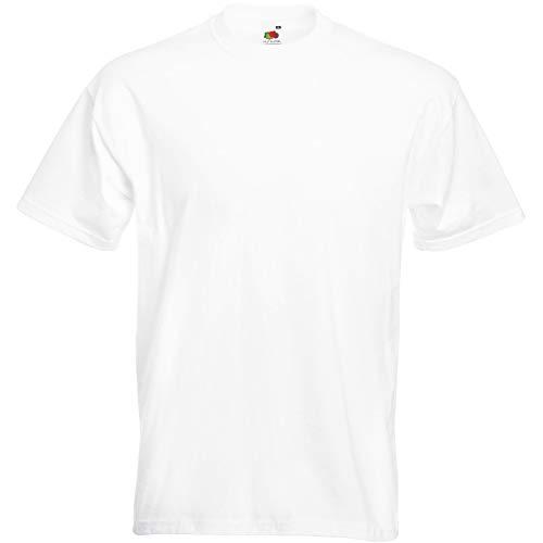 Fruit of the Loom - Camiseta Básica de Manga Corta Hombre (Mediana (M)) (Blanco)