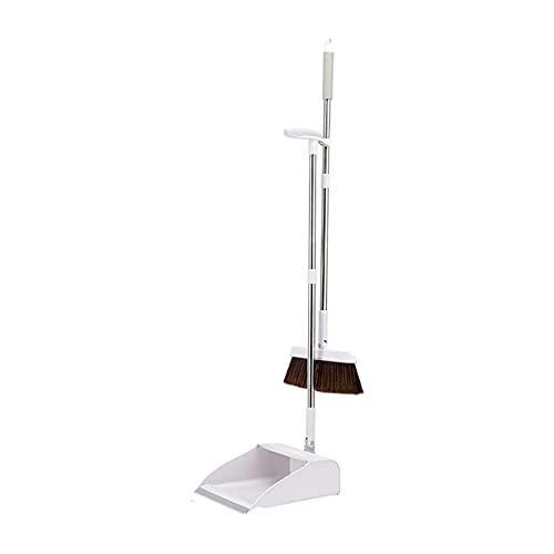 SHTFFW Conjunto de Polvo de la casa, Escoba Plegable a Domicilio Engrosada, Escoba Antiadherente combinada con Conjunto de combinación de Piel Suave (Color: Blanco)