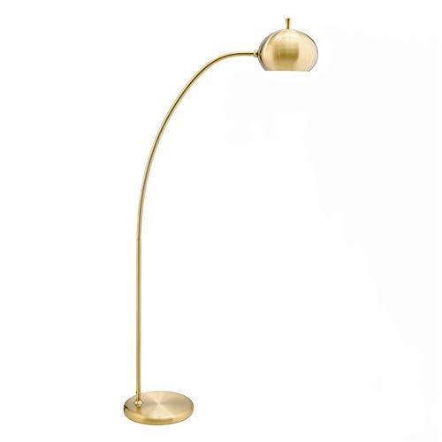 Lámpara de pie Lámpara de pesca lámpara de pie de color de latón sala de estar dormitorio estudio americano lámpara simple lámpara de mesa vertical Luz de piso LED ( Color : Copper , Size : 155x28cm )