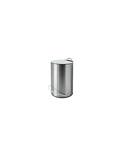 Gelco Design 708815 Poubelle A PEDALE 5L, Acier Inoxydable, INOX Brosse/Blanc, 21 x 21 x 30 cm