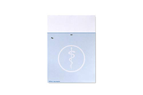 1 Rezeptblock für den Arzt  Privatrezept   DIN A6 Hochformat   1 Block a 100 Blatt   Design: Äskulapstab   Farbe: Blau