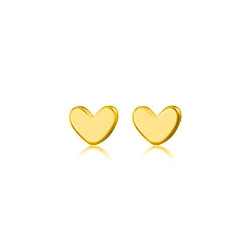 Silver Mini Small Love Heart Stud Pendientes para Mujeres Estudiante Adolescente Joyería Regalo (Gem Color : BKEJ100 Gold)